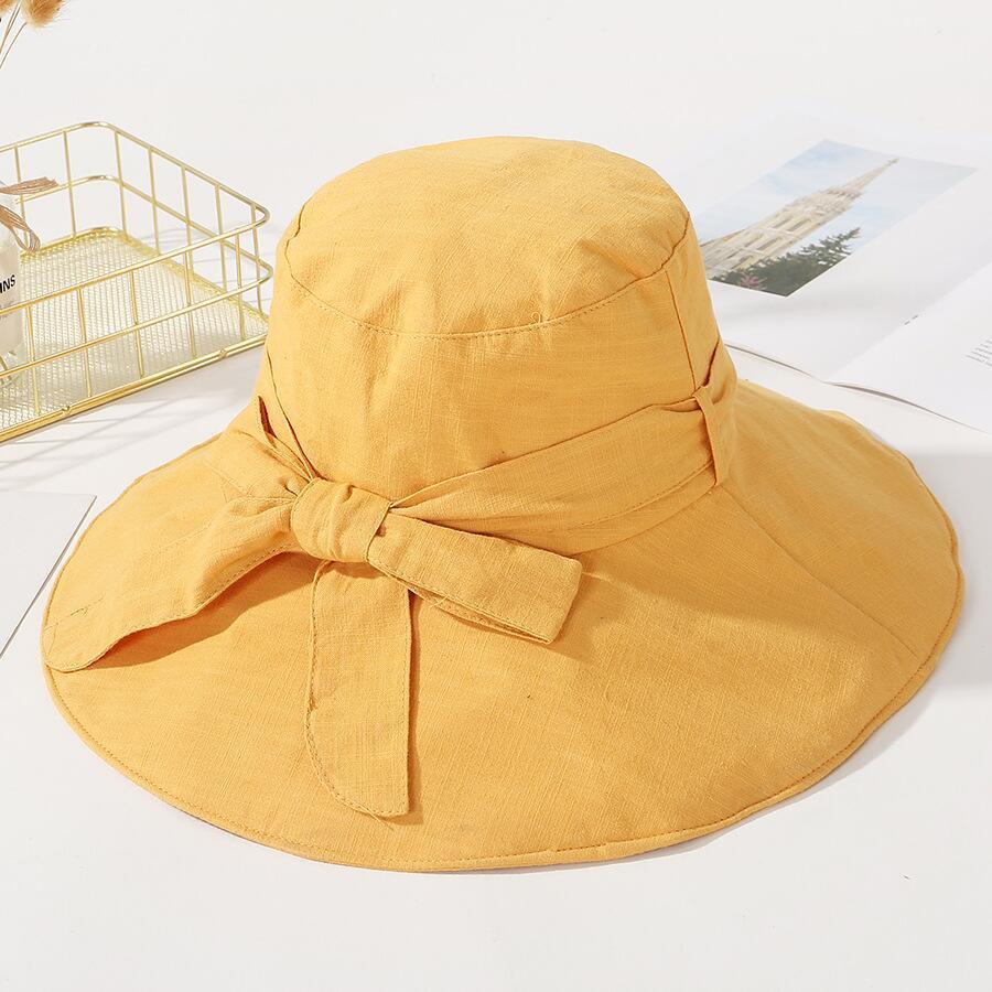 5dc171afb84 SUOGRY Fashion Women Summer Bow Sun Hats Cotton Fisherman Hat Wide Large  Bucket Cap Caps Panama Foldable Sunscreen Fishing Hat Bucket Hats Cheap Bucket  Hats ...