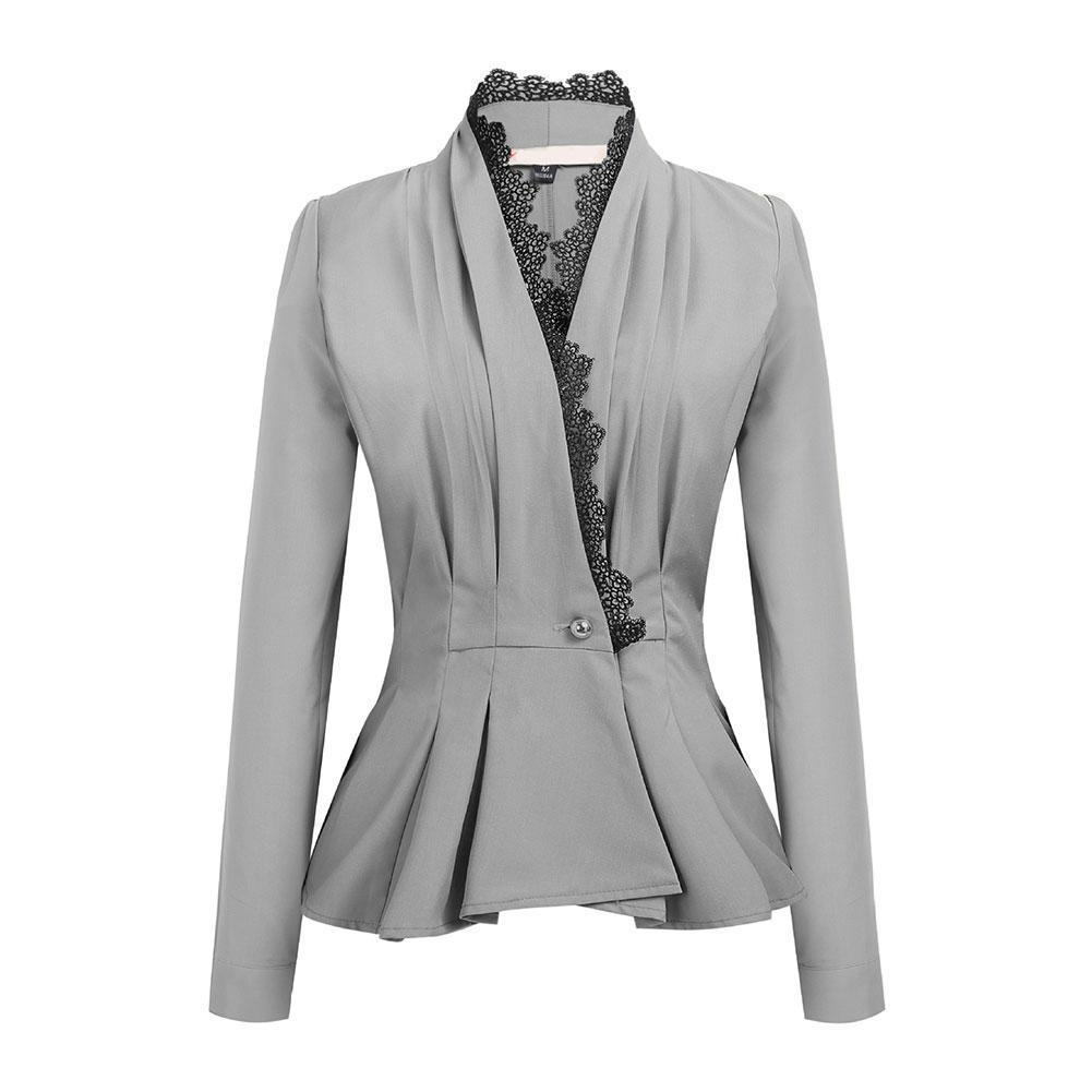 2019 Women Business Lace Trim One Button Long Sleeve Slim Peplum Blazer  Jacket Coat From Tallahassed9 ec4a1d8c5
