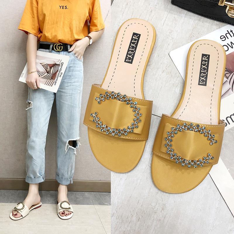 6418fd7a0 2019 chaussures mode femme tongs en cuir simples pantoufles de satin en  strass couleur unie diapositives plates anti-glissement