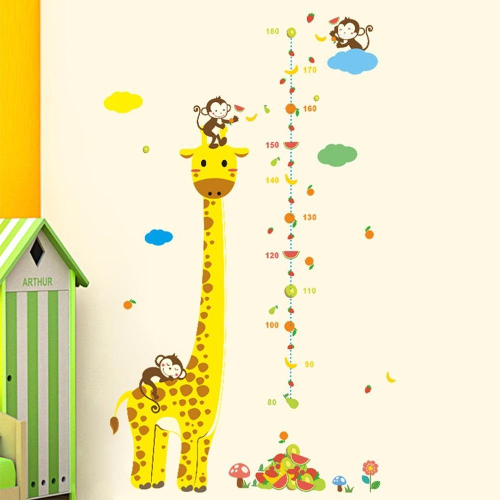 Cartoon Belle girafe Mesurer autocollants de mur pour les enfants Toise Règle Stickers Nursery Home Décor bricolage Art Decal