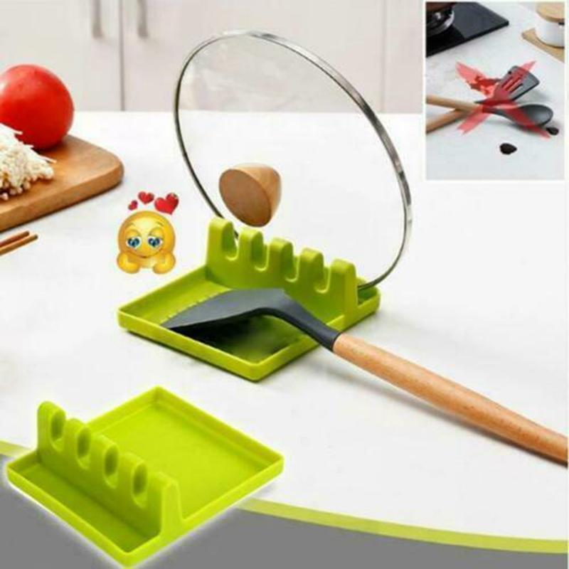 1 x Silicone Spoon Rest Heat Resistant Kitchen Utensil Spatula Holder