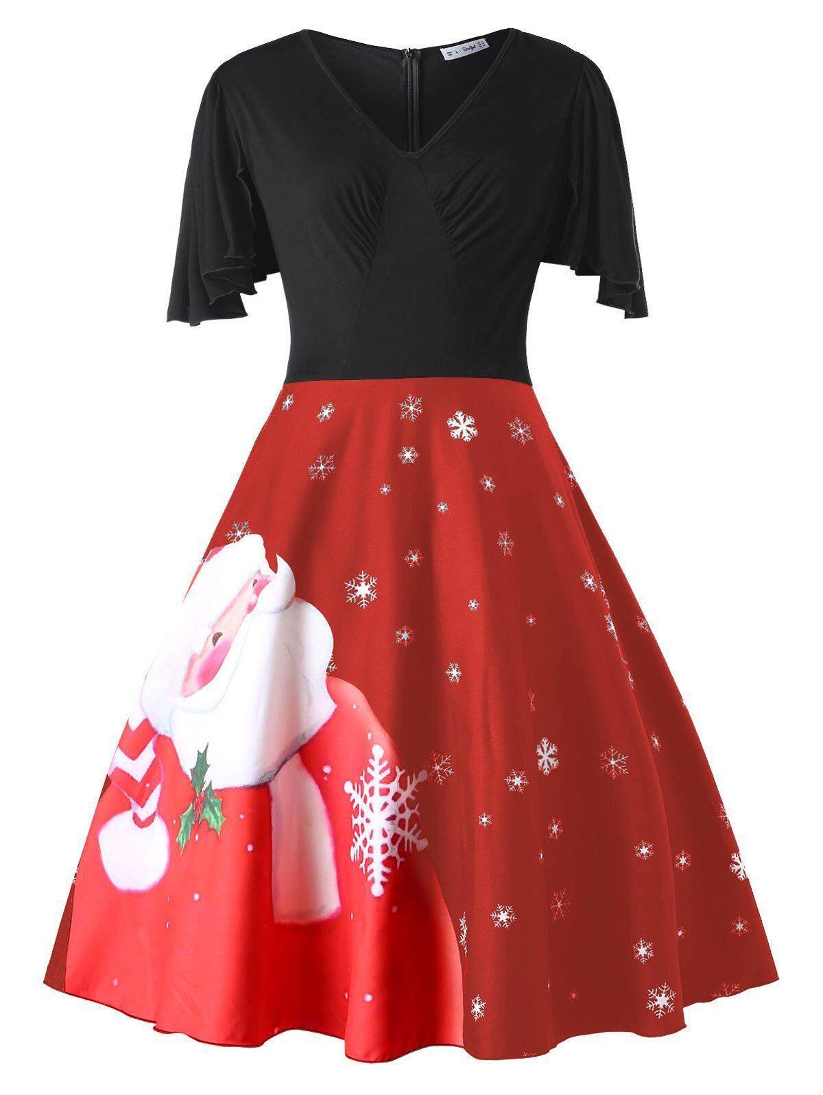 77e2929e551 Lady large Christmas dress women plus size panelled Christmas prints back  zipper v-neck petal sleeve party dress XL-5XL