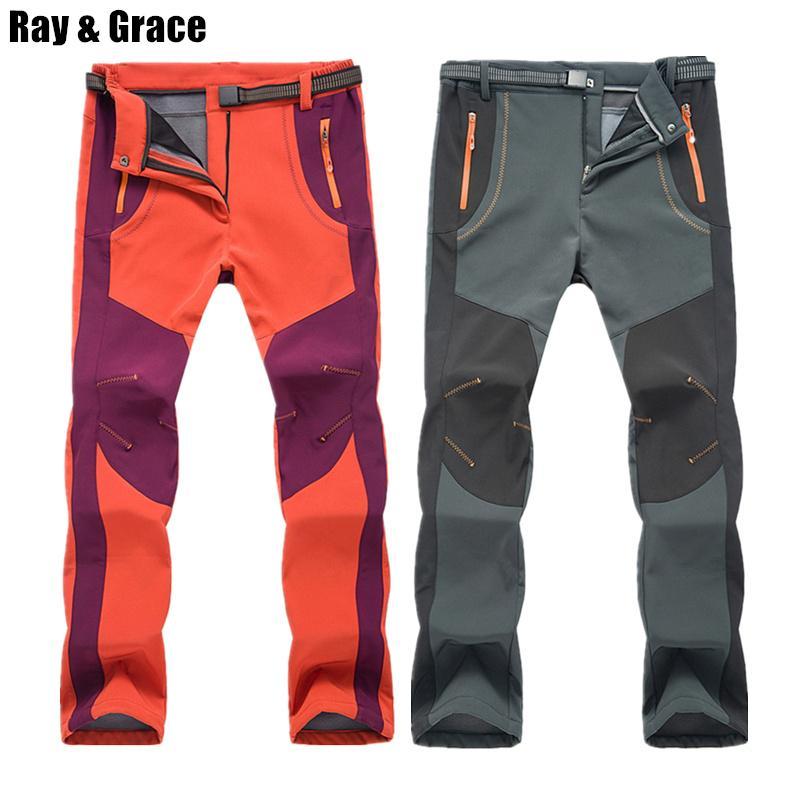 4acf9ef042 Compre RAY GRACE Senderismo Pantalones Hombres Softshell Invierno Al Aire  Libre Senderismo Trekking Pantalones Fleece Cálido A Prueba De Viento De  Esquí ...
