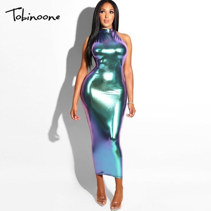 98e14751a Tobinoone New Long Halter Backless Party Maxi vestido de verano Bodycon  Sexy Club Bling mujeres vestido Q190516