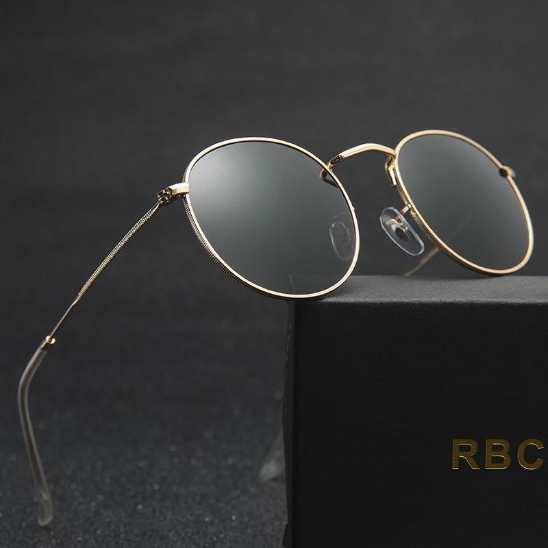 4724805c3e Compre Gafas De Sol Redondas Mujeres Lente De Cristal Diseñador De La Marca  Gafas De Sol De Moda Gafas De Sol Marco De Aleación Gafas Espejo 3447 Uv400  ...