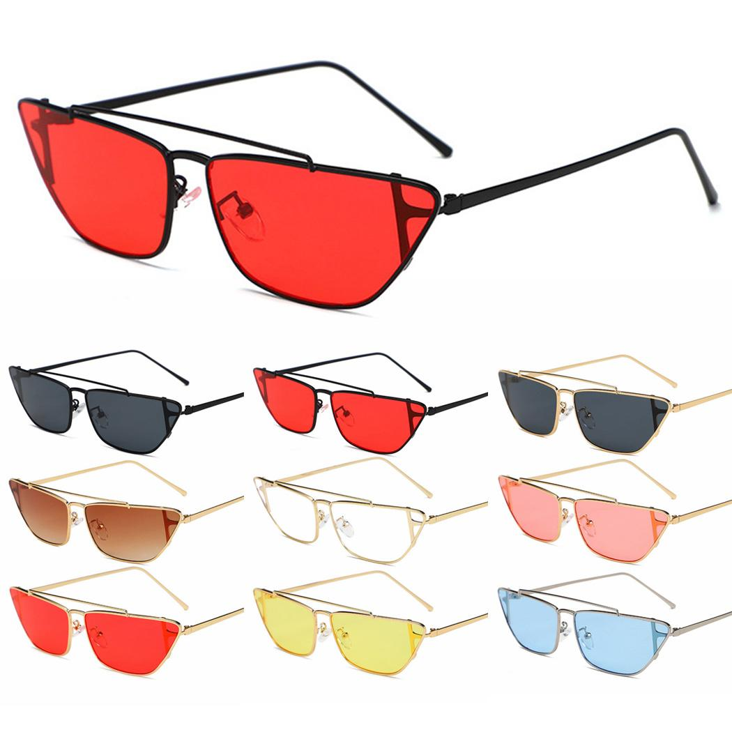 Red Ladies Blue Points Femme Glasses Wire Women Sunglasses Star Eyewear Pink Sexy Sun Cat Ear Narrow Hippie Thin Triangle Mirror 8n0wkXOPN