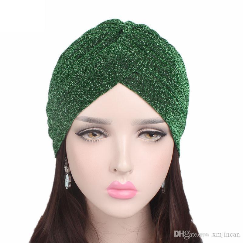 b9acb0ab / New Golden Bright Silk Hat Muslim Turban Hat Adult Head Wrap Chemo Cap  Women Winter Beanie Hats Custom Beanies Crochet Beanie Pattern From  Xmjincan, ...