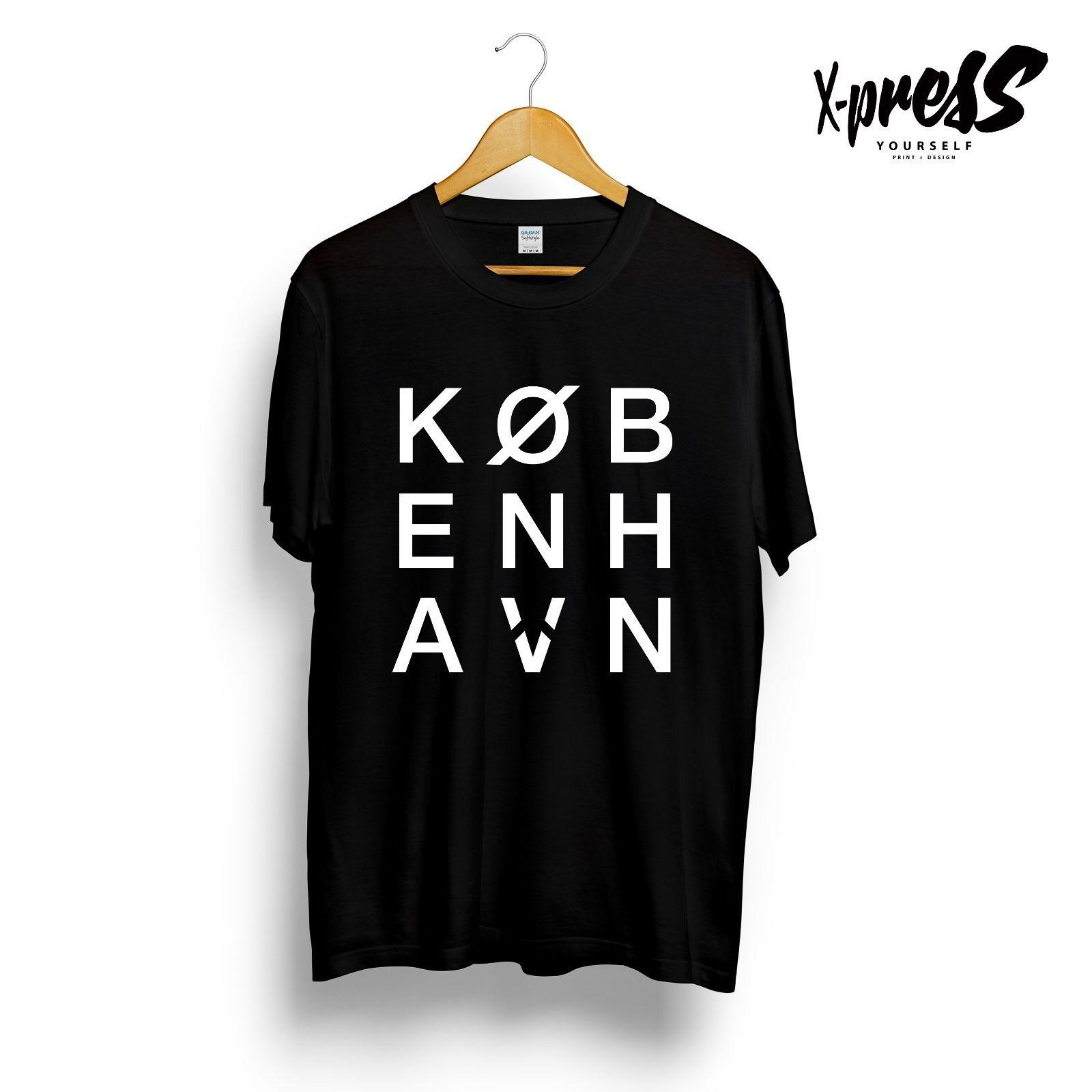 5005d3d7bb69 COPENHAGEN KØBENHAVN PRINTED TSHIRT GRAPHIC TYPOGRAPHY PRINT BLACK WHITE TEE  TOP Size Discout Hot New Tshirt Denim Clothes Camiseta T Shirt Create T  Shirt ...