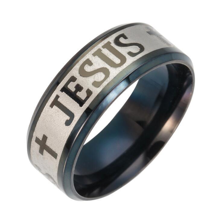 Religioso Jesús Jesús Cruz anillo 8 mm de acero inoxidable Dios ruso Ahórrenos anillos de la banda para hombres mujeres regalo del partido