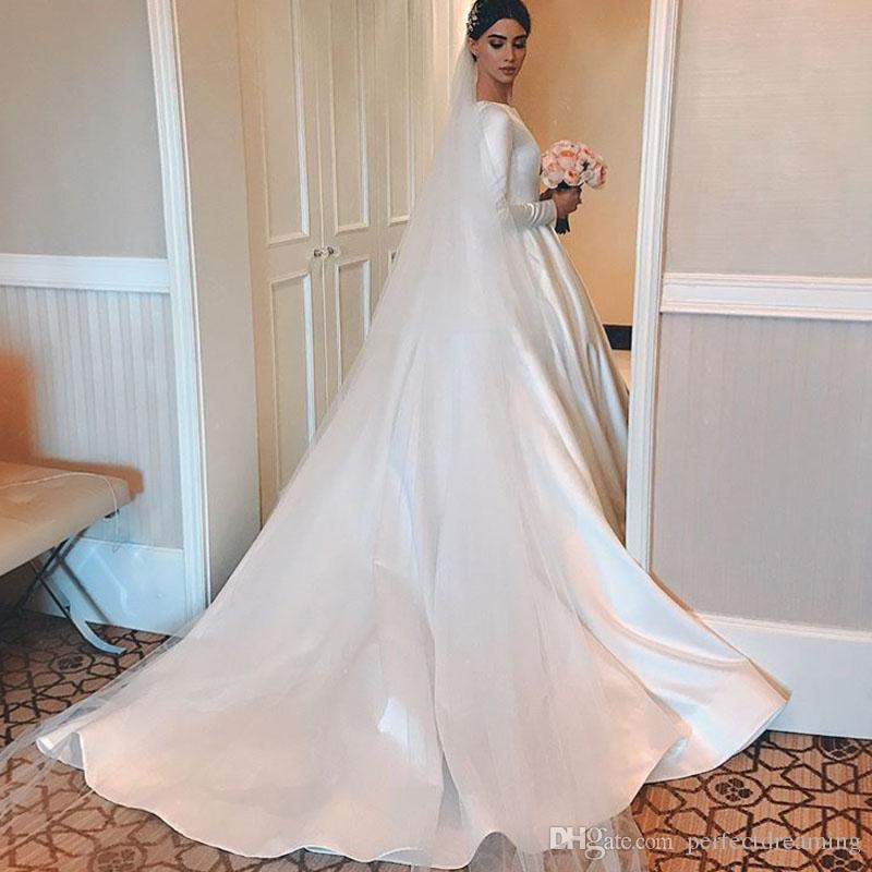 7594d58bc Discount Simple Vintage White Ivory A Line Wedding Dresses Long Sleeves  Royal Satin Bridal Gowns Castle Garden Bridal Dresses Custom Made Plus Size  Trendy ...