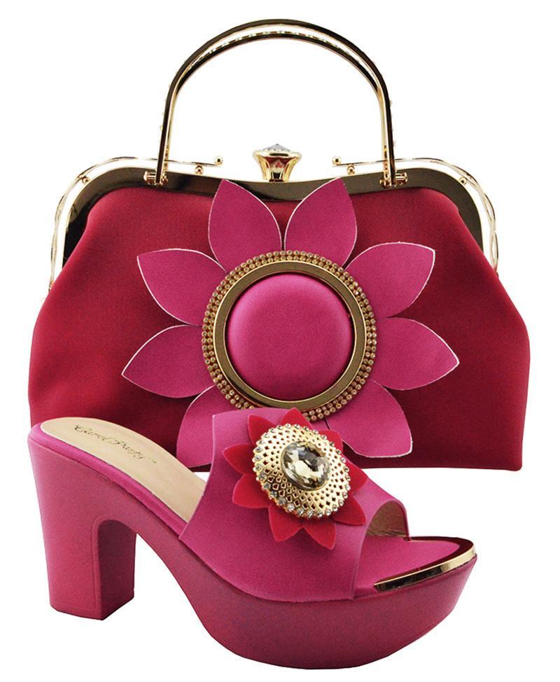 8890d72fb Compre Zapatos Italianos De Color Fucsia Con Bolso A Juego Conjunto De  Zapatos Y Bolso De Mujer Africana Italiana Zapato Y Bolso De Boda Nigeriano  Para ...