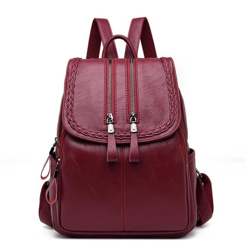Women Leather Backpacks Bag Simple Fashion Preppy Style Bags Casual ... f2476b7ffb