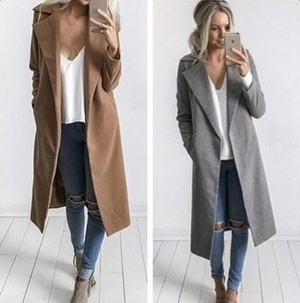 New Fashion Loose Long Sleeve Pockets Women Coat Casual Coat CAIHONG Store