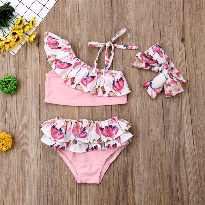 71fedd3e13bd Niños Bikini Tankini 2019 bebé niña de un hombro traje de baño volantes  lindo 3 unids ropa de playa de flores estampado floral trajes de baño