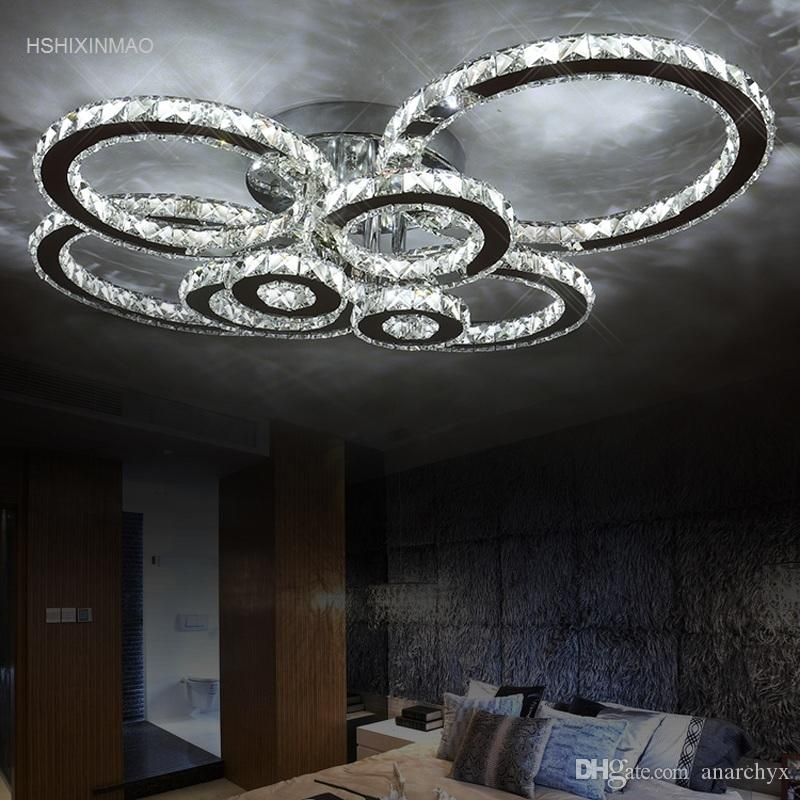 Modern Creative Led Ceiling Lamp Living Room Bedroom Ring Crystal Indoor Led Shine Dimming Ceiling Light Fixtures Ac110-240v Lights & Lighting