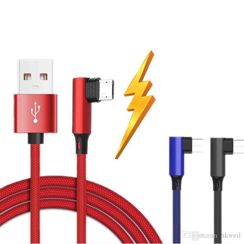 Micro V8 USB type c Type-c cable Charger Fast Charging game cable 90 Degree for Phone 8 9 Samsung S10 Huawei