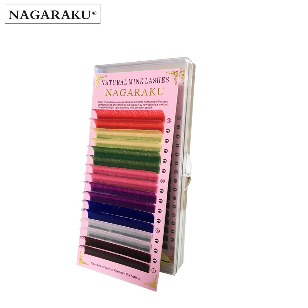 Nagaraku 16rows Macaron 8 Colors Rainbow Colored Eyelash Extension Faux Mink Color Eyelashes Colorful False Eyelash Maquiagem Cilios