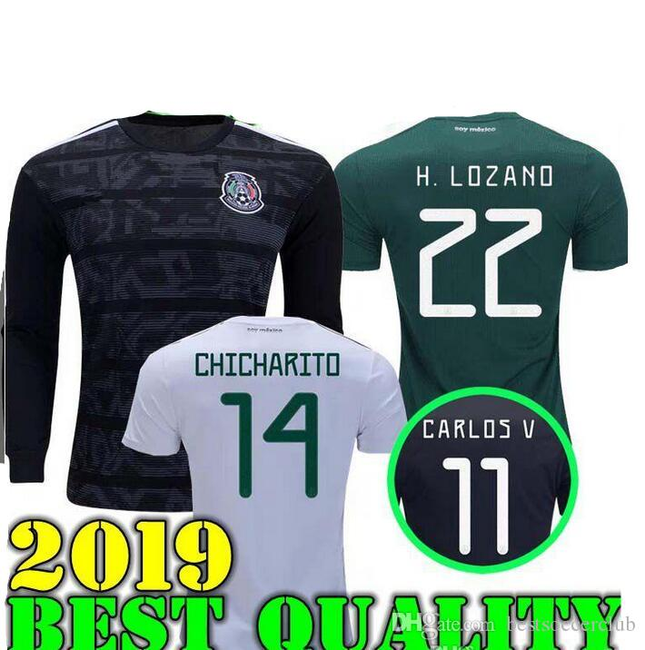 f96e5e9f5 2019 GOLD CUP Black 2019 Mexico World Cup National Team Men Jersey 18 19 Mexico  Home Green Soccer Jerseys Away White Football Shirts Uniforms From ...