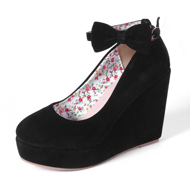 4621be6bb06 Women High Heels Shoes Plus Size Platform Wedges Female Pumps Elegant Flock  Buckle Bowtie Ankle Strap Party Wedding Shoes Mens Sandals Mens Trainers  From ...