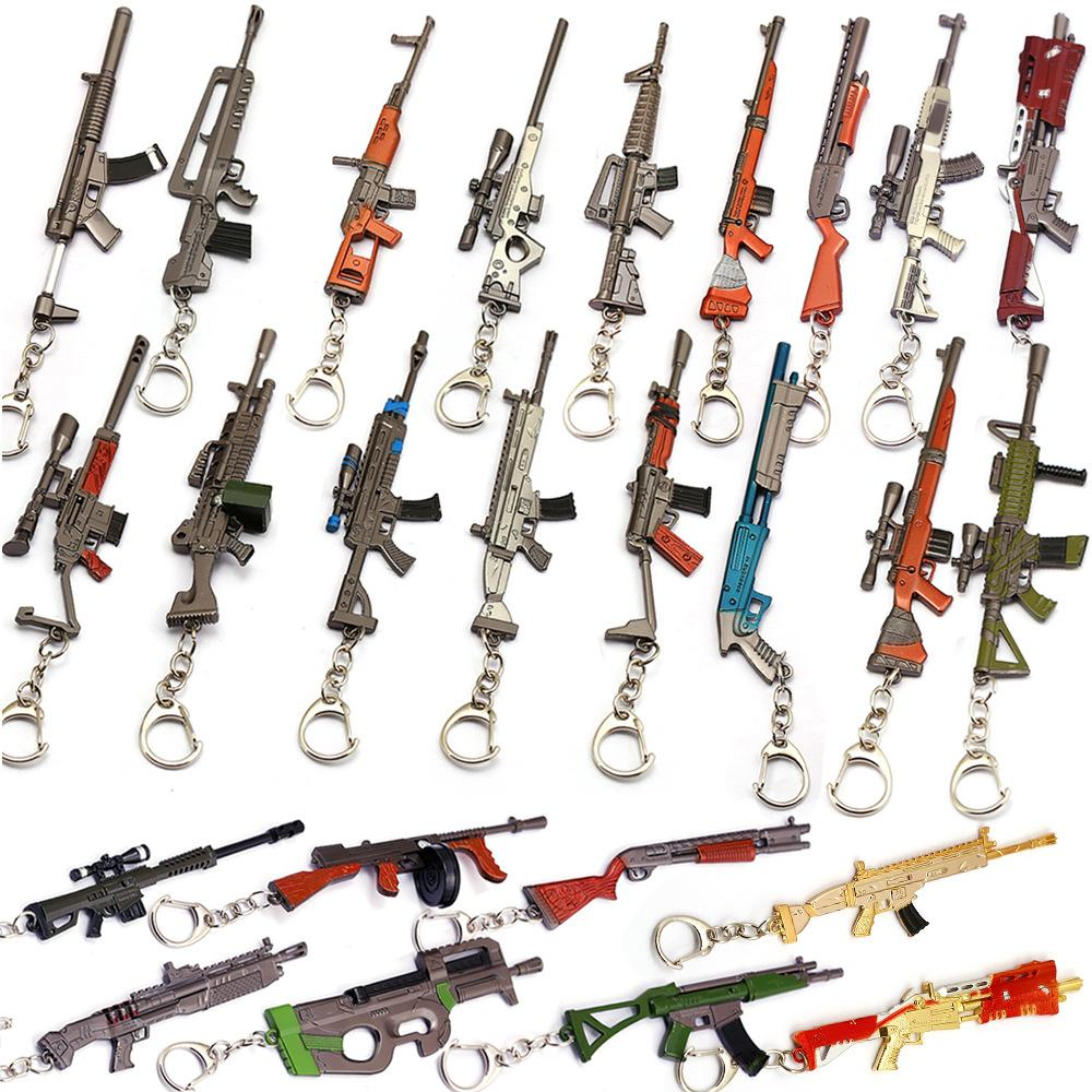 12CM Game Peripheral Game Fortress Night Submachine Gun Rifle Weapon Model Keychain 23 Style for Women and Men
