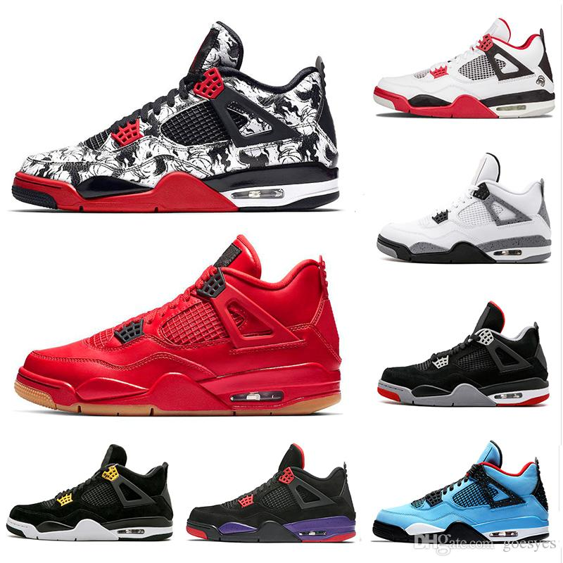 b5ba1ff7c1e2 2019 Tattoo 4 Singles Day 4s Basketball Shoes Men Pure Money Royalty White  Cement Raptors Black Cat Bred Fire Red Mens Trainers Sports Sneakers From  Goesyes ...