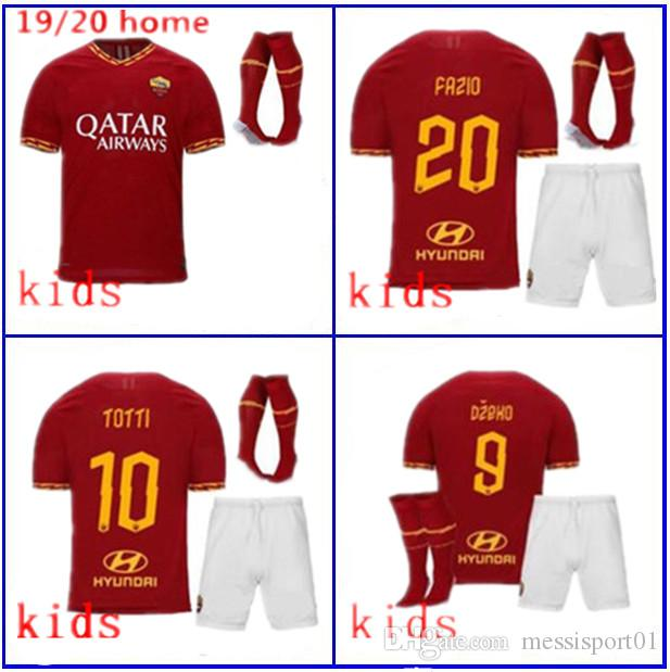 e6e654a2a 2019 NEW 19 20 ROMA SOCCER JERSEY Kids Kit Totti 2019/20 EL SHAARAWY Home  Kids KIT Soccer Jersey With Socks From Messisport01, $16.76 | DHgate.Com