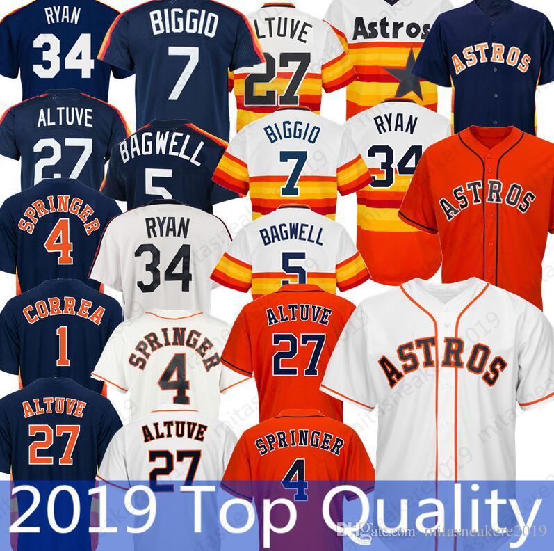 9408f473456 Houston Astros Jersey 4 George Springer 1 Carlos Correa 27 Jose ...