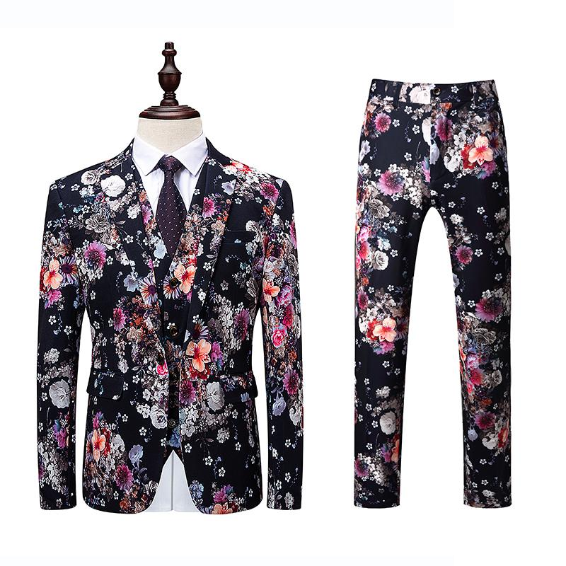 b30b515e1b4 2019 Jacket+Vest+Pant Men Suit Fashion 2018 Korean Slim Fit Casual Mens Dress  Suits High Quality Plus Size Business Floral Blazer 6XL From Piterr