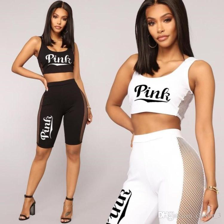 b7ab27a548 PINK Women Fashion printed clothing vest outfits 2 piece set hot sale sexy  tracksuit jogging sport suit sweatshit tights sport suit klw0616
