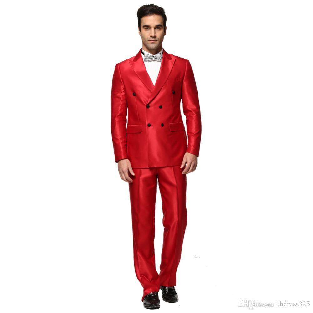 Custom Made Men Suit New Shiny Red Double Breasted Men's Business Wedding Suits Party Tuxedo Costume Homme Mariage Suits(Jacket+Pants) B837