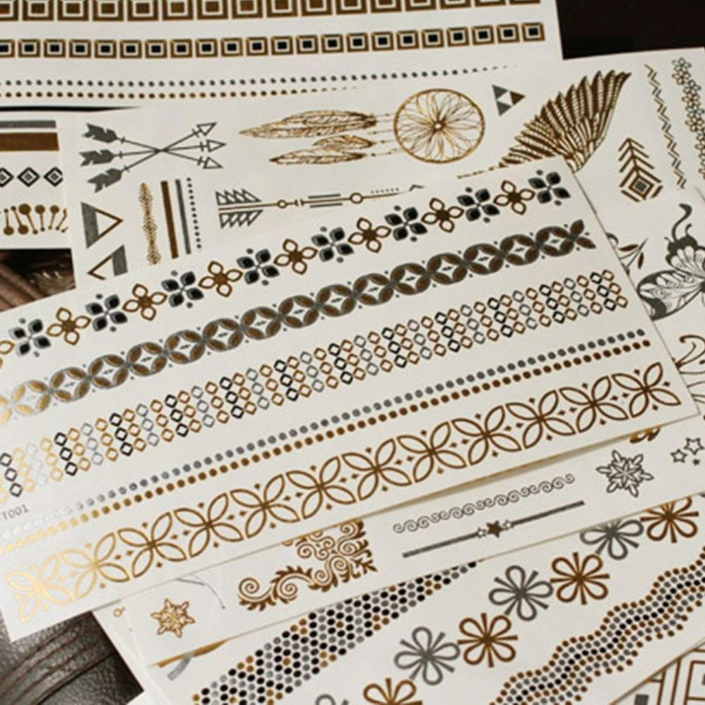 Pro Gold Bronzing Waterproof Wedding Bride Bridesmaids Temporary Tattoo Stickers for Bachelor Party Women Body Wrist Decorations