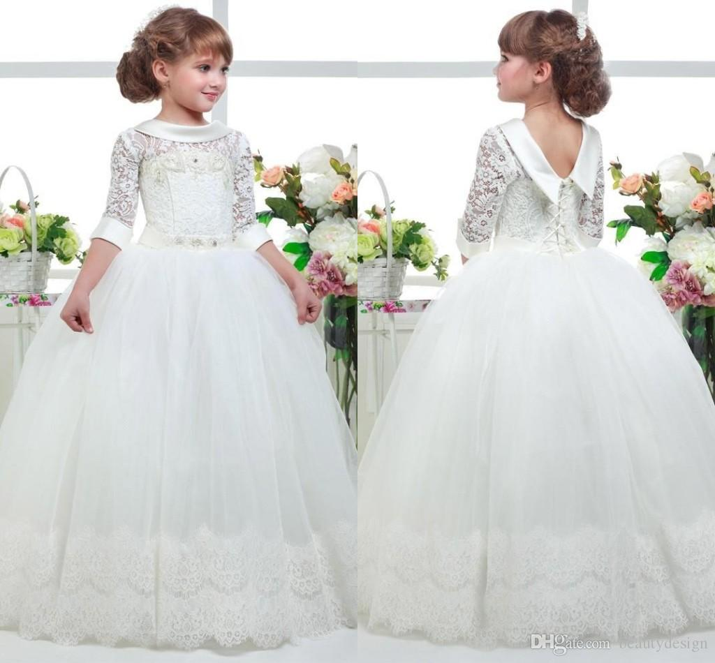 76eaf3a275a 2019 Lovely White First Communion Flower Girl Dresses Princess Tulle Lace  Applique Hem Ball Gown Kids Graduation Pageant Gowns BC1012 Flower Girl  Dresses ...