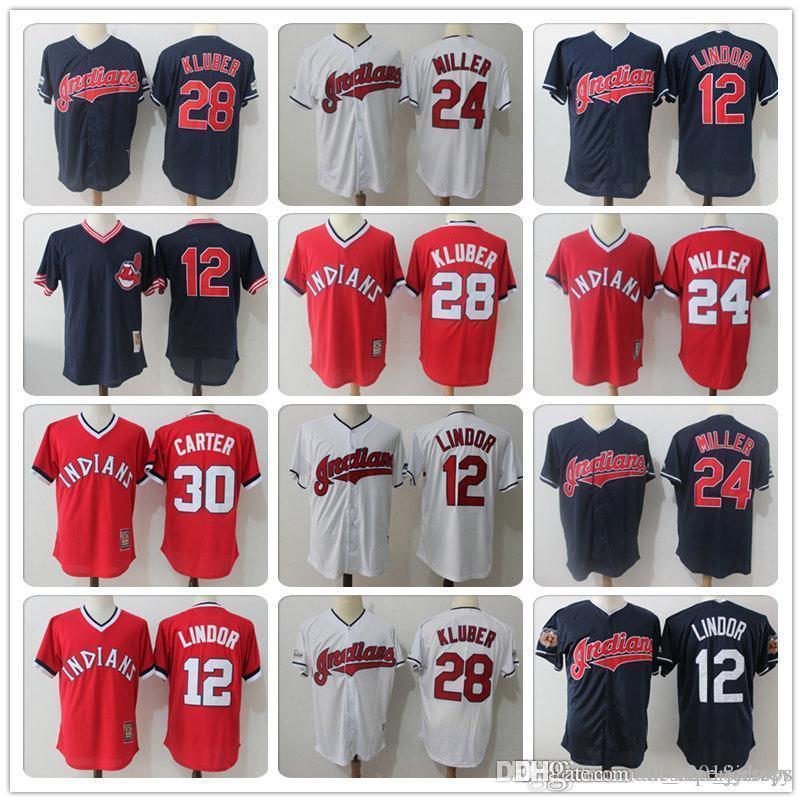 buy online 6e0ec fd9d3 28 Corey Kluber 30 Joe Carter Cleveland 12 Francisco Lindor Indians Jersey  10 Edwin Encarnacion a3