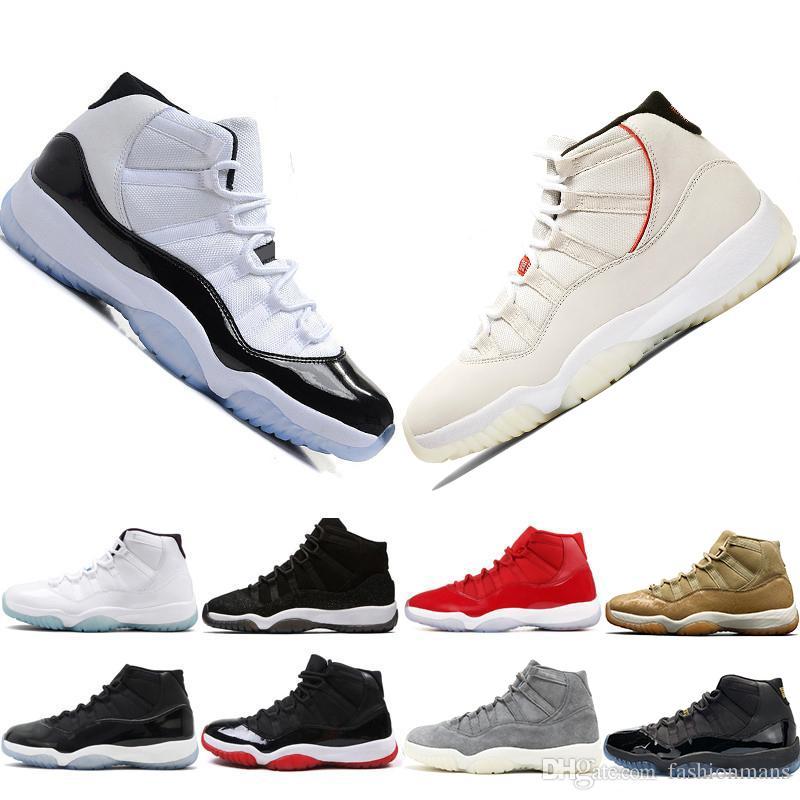 Air jordan 11 Gorro y bata de color platino Gimnasio Rojo Estingray negro OVO Midnight Navy Bred Shoes 11s Mens Womens Zapatillas de baloncesto