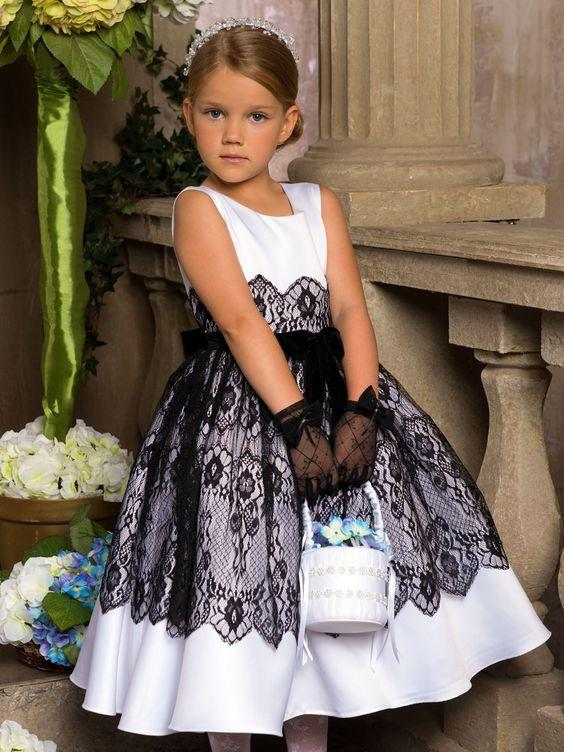 2638fd1400 Lovely White With Black Lace Flower Girl Dresses 2019 New Vintage Tiered Tulle  Dress Puffy Little Girls Formal Wedding Party Evening Gown Bridal Flower ...