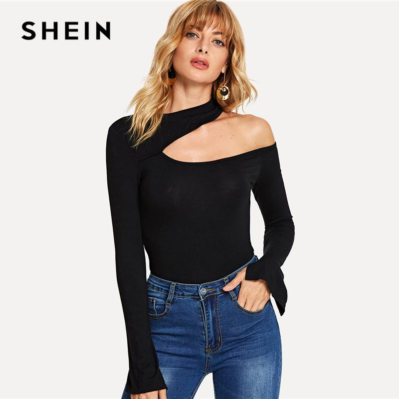 74f8dade3d Shein Black Sexy Asymmetrical Neck Tee Plain Split Long Sleeve Autumn Tops  Women Elegant Flounce Sleeve Party T Shirt Top Q190429 Shirts With Designs  R ...