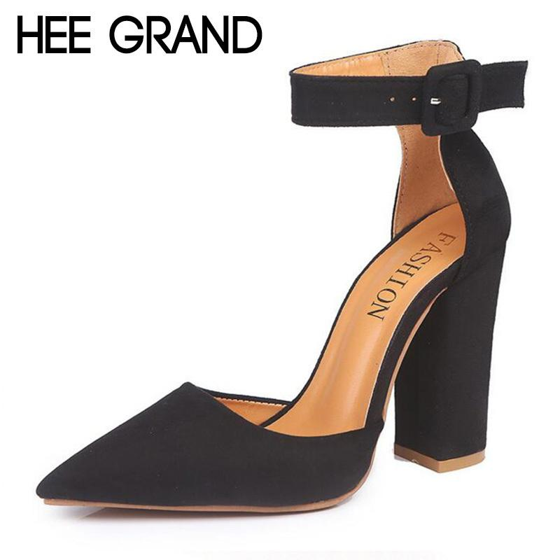 5050c9f7045 HEE GRAND 2019 New Women Thick Heel Pumps With Buckle Flock Vamp Elegant  Lady S Ankle Lace Women Fashion Sandals XWZ4924 Flat Shoes Online Clothes  Shopping ...