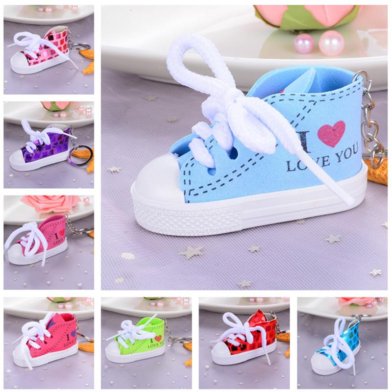 e8c9126cebf93 Mini I Love You Canvas Shoes Keychain Sequins Sports Shoe Key Chain  Keychains Novelty Keyring Tennis Shoes Key Ring Handbag Pendant 10 Color