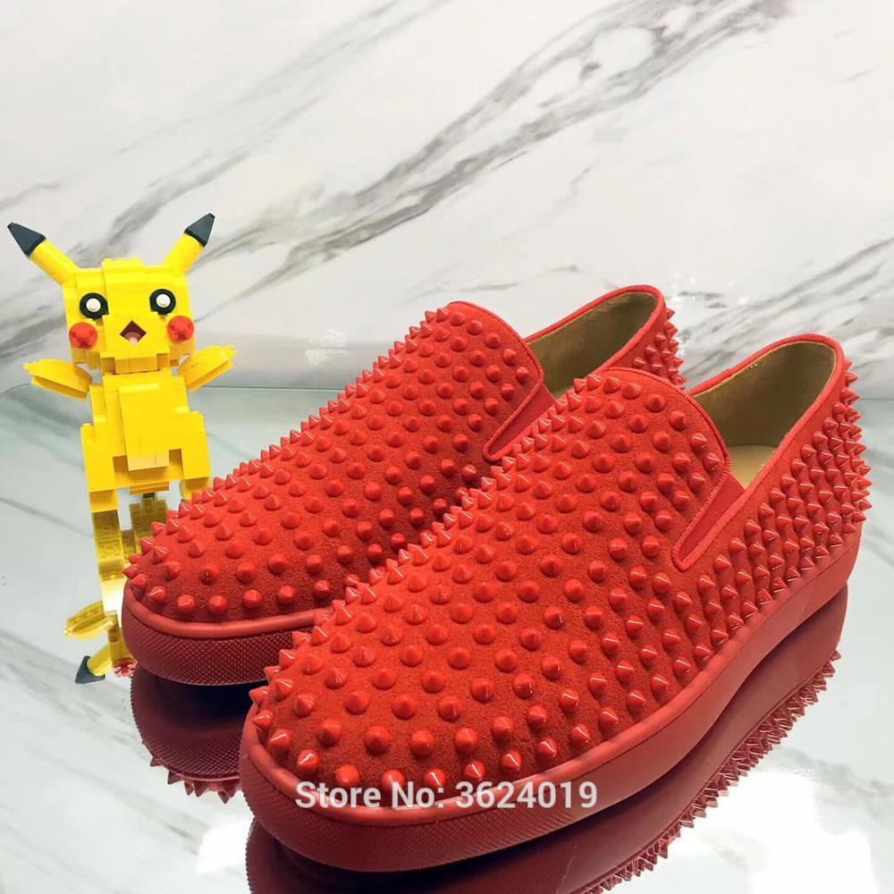 Low Cut Cl Andgz Solid Slip On Red Buckskin Rivets Whole Red Bottom Shoes  Sneakers Lazy Shoes Leather Men S Flat Loafers 2018 Pink Shoes Vegan Shoes  From ... ed36836c6509