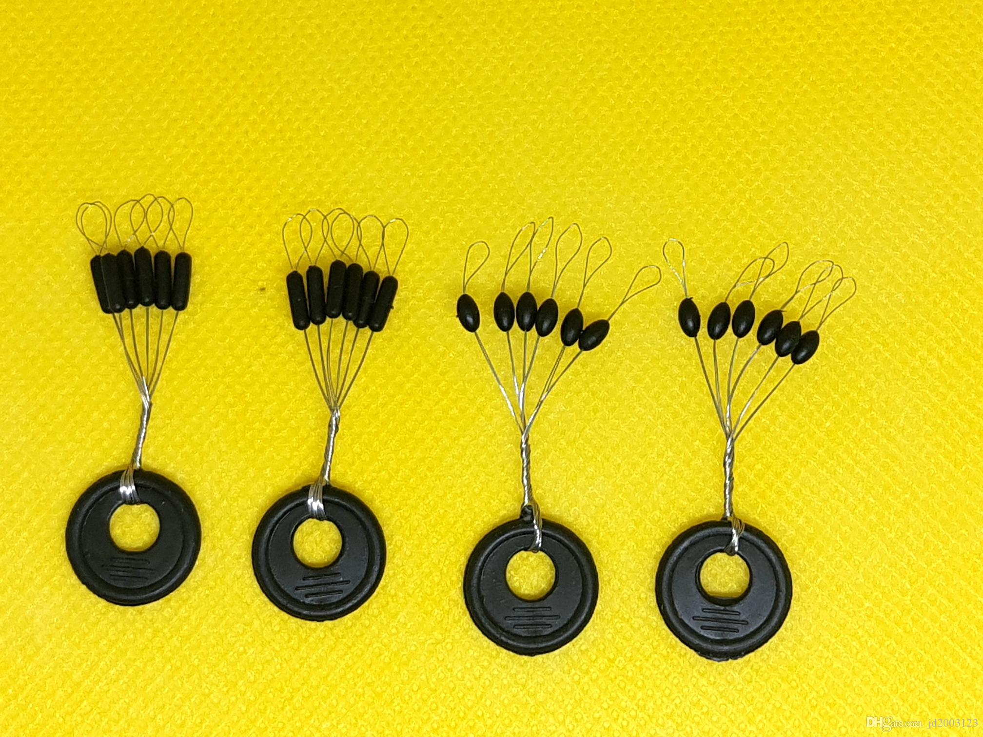 100 Groups / Set Black Rubber Stopper Oval Bean Space Fishing Float Bobber Stopper Beans Space Not To Hurt The Vertical