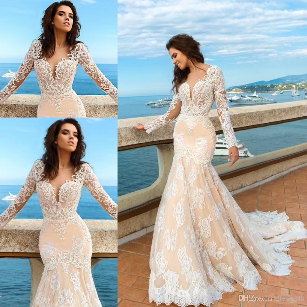 Full Lace Wedding Gowns Plunging Neck Long Sleeve Mermaid Bridal Gowns Sweep Train Plus Size Wedding Dresses