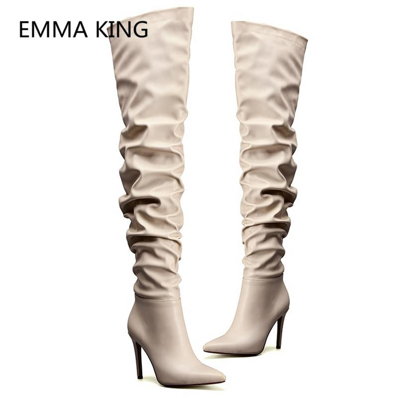 13d3897a1d1 2019 New Women Spring Over The Knee Boots Pointed Toe Sexy High Heels  Ladies Autumn Pleated Shoes Woman Runway Thigh High Boots