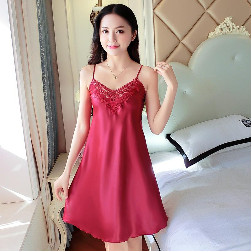 a48c205d66d0 2019 Summer New Sexy Temptation Suspender Skirt Silk Thin Section  Nightdress Ladies Silk Pajamas Women S Home Service From Lovep