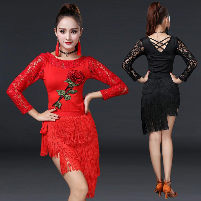 fea368447 2019 New Embroidered Flower Latin Dance Dress Set Women Sexy Lace Hollow  Tassel Latin Dress Female Stage Performance Costume From Volontiers, ...