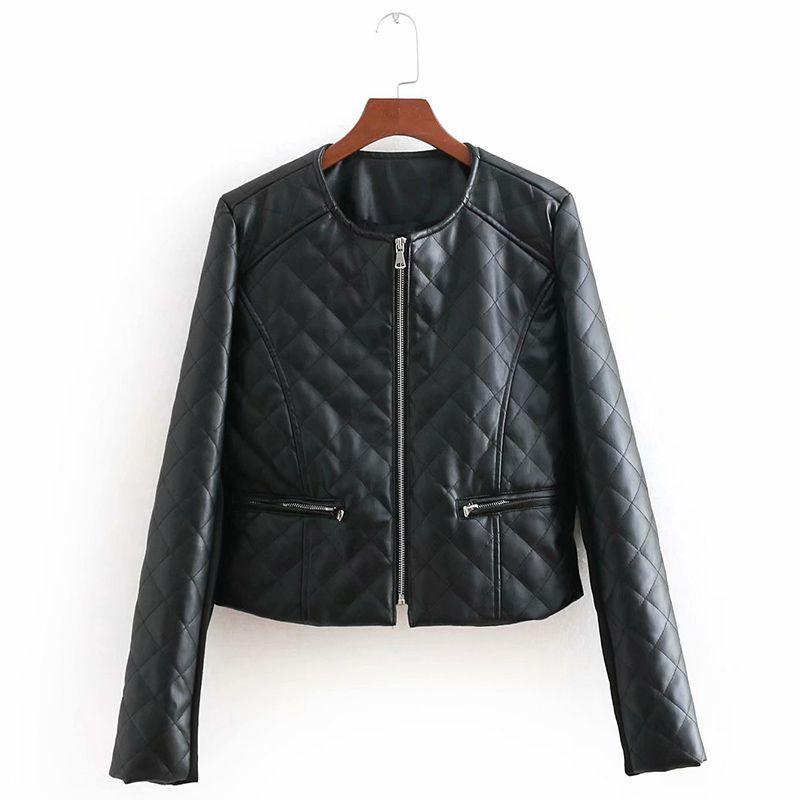 Acheter Solide Couleur Plaid Noir En Cuir Veste Femmes 2018 Automne Marque  De Mode Des Femmes En Cuir Similicuir Veste À Manches Longues Col Rond PU  Manteau ... 80a013fda662