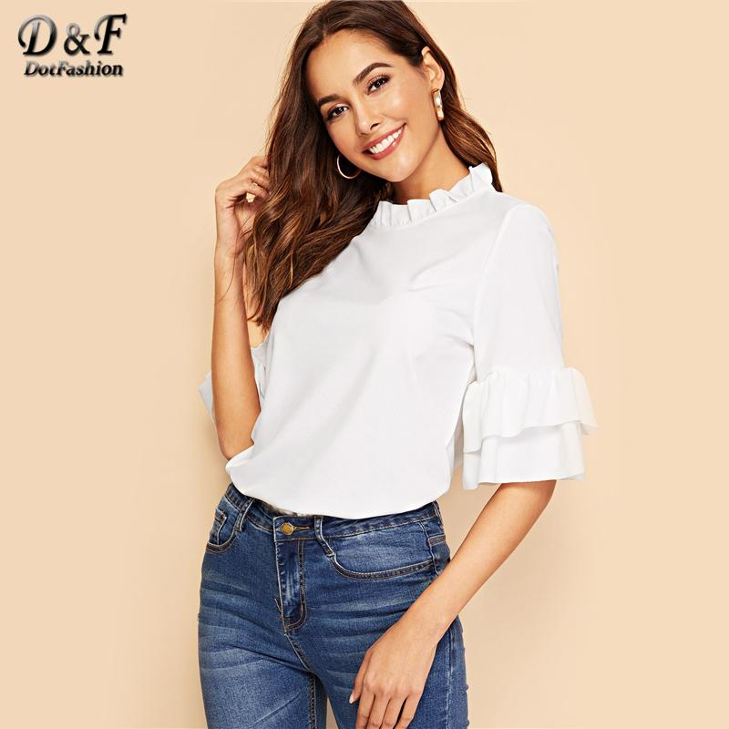 59081392921d9b Dotfashion White Keyhole Back Ruffle Trim Bell Sleeve Top 2019 ...
