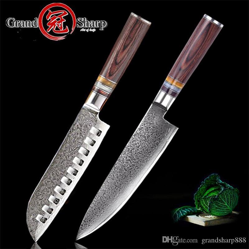 Top Rated Kitchen Knives: GRANDSHARP Kitchen Knives Sets Chef Santoku Knife Damascus