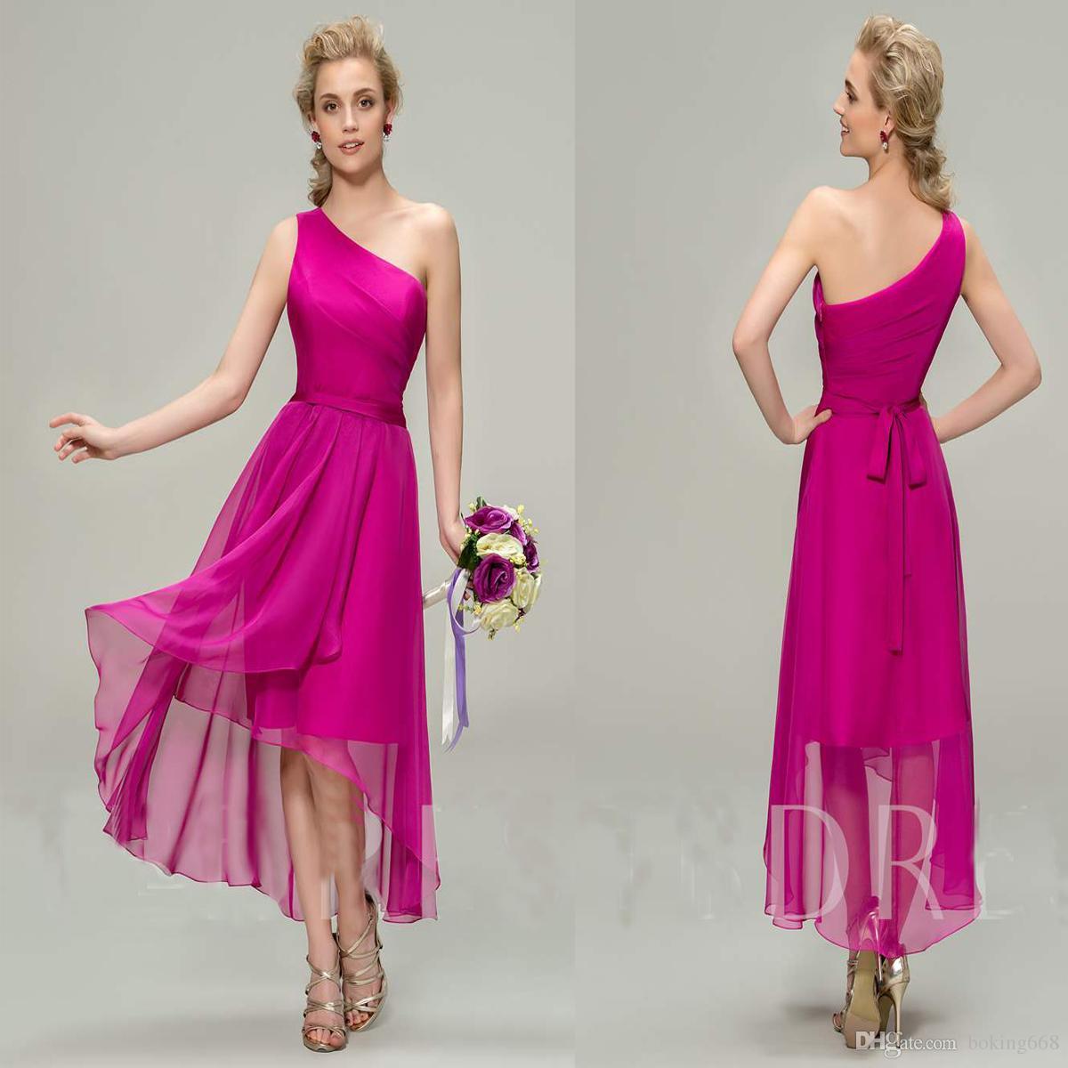 d4cc53108e2 2019 Cheap Asymmetry Sashes Bridesmaid Dresses Chiffon Summer Sleeveless One  Shoulder Bridesmaid Formal Prom Party Dresses Robe De Soiree Beach  Bridesmaid ...