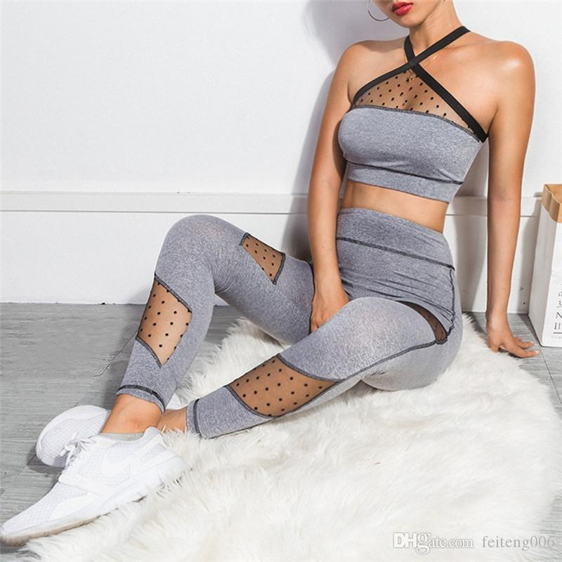 8a5e478f7707 Women's Sports Suits Sexy Tracksuit 2 Piece Set sports wear for women gym  clothing yoga set Leggings grey Crop Top fitness Suits #643021