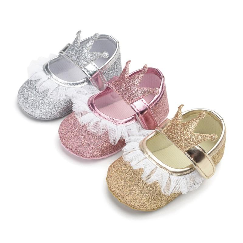 Baby Girls Shoes Infant First Walkers for Newborn Autumn Soft Sole Non-Slip Crown Princess Shoes